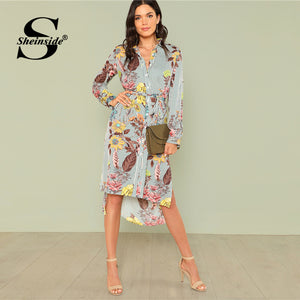 Sheinside Side Split Print Dip Hem Shirt Dress Women Floral Long Sleeve Striped Shift Dress High Low Ladies Workwear Dress