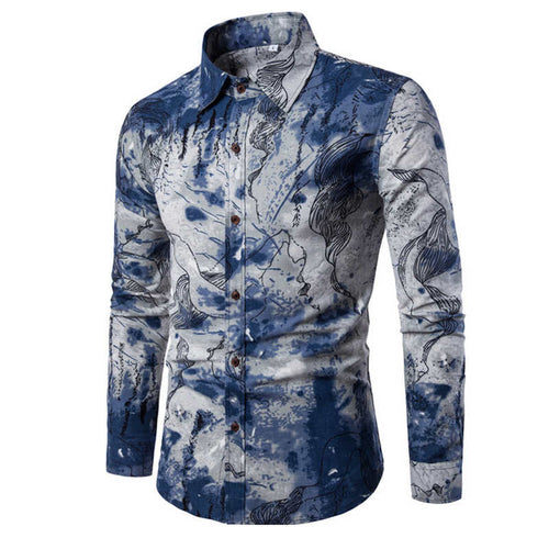 Shirt Men Clothing M-5XL Long Sleeve Flower Print Mens Dress Shirts Summer New Casual Hawaii Male Shirt camisa masculina