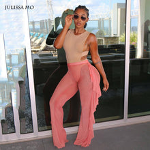 Sibybo 2018 New Women Wide Leg Pants Casual Ladies Loose Trousers Sexy Mesh High Waist Long Harem Party Women Pants