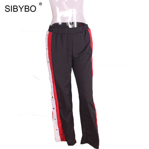 Sibybo High Waist Split Sexy Pants Women Fashion Side Button Panelled Loose Wide Legs Pants Elastic Waist Casual Women Pants