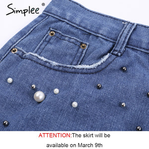 Simplee Casual irregular pearls jean skirt women Streetwear fringed hem skinny pencil skirt 2018 pocket denim summer mini skirt
