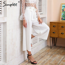 Simplee Metal ring tie up wide leg pants women capris Chic streetwear casual pants 2018 Spring summer beach elastic trousers