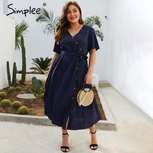 Simplee Plus size v-neck women dress Elegant short sleeve button sashes midi dress Summer casual streetwear soft ladies dress