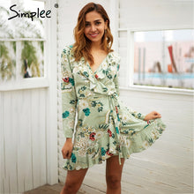 Simplee Ruffle print wrap dress women Sexy v neck mini dress long sleeve summer dress Robo femme streetwear beach vestidos 2018