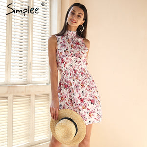 Simplee Sleeveless floral print summer dress women Elastic waist streetwear mini dress Beach boho dress female vestidos 2018
