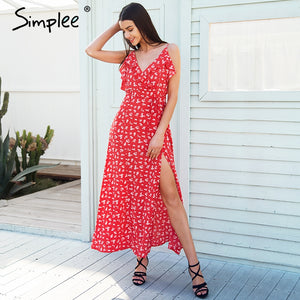 Simplee V neck ruffle floral print summer dress women Backless strap boho dress long Sleeveless split maxi beach dress vestidos