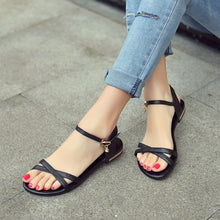 Size 35-46 2019 New Arrive Women Sandals Simple Buckle Summer Shoes Genuine Leather Ladies Comfortable Flat Sandals