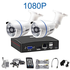 Smar 4CH 1080N 5 in 1 AHD DVR Kit CCTV System 2PCS 720P/1080P IR AHD Camera Outdoor Waterproof Day & Night Security Camera Kit