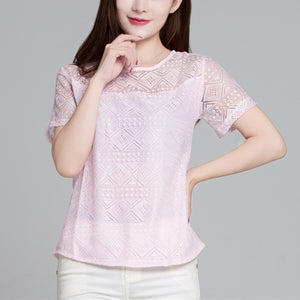 Softu Women Fashion Hollow Out  Short Sleeve Blouses Lace Chiffon Shirts Casual Ladies Blusas Women Tops