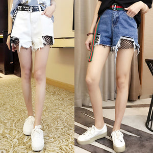 Splicing Fishnets Mesh Distressed Ripped Denim Shorts for Women 2017 Summer High Waist Fashion Unif Short Jeans Shorts Female