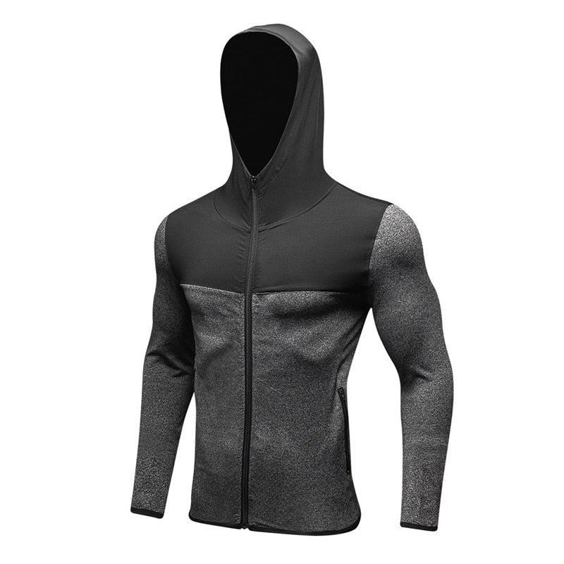 Sport Running Jacket Hoodie Men Sportswear Gym Training Fitness Jacket