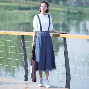 Spring Harajuku Denim Suspenders Skirts Women Japanese New Summer Korean Ulzzang High Waist Tassel Jeans Removeable Strap Skirt