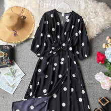 Spring Summer Women Beach Casual Dot Dress 2019 New Pull Sleeve Sexy V-neck Long Robe Female Bandage Vintage Dresses Vestidos