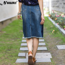 Stripe print split denim skirt high waist a-line midi jeans skirt for women summer spring fashion casual ladies pocket saia jupe
