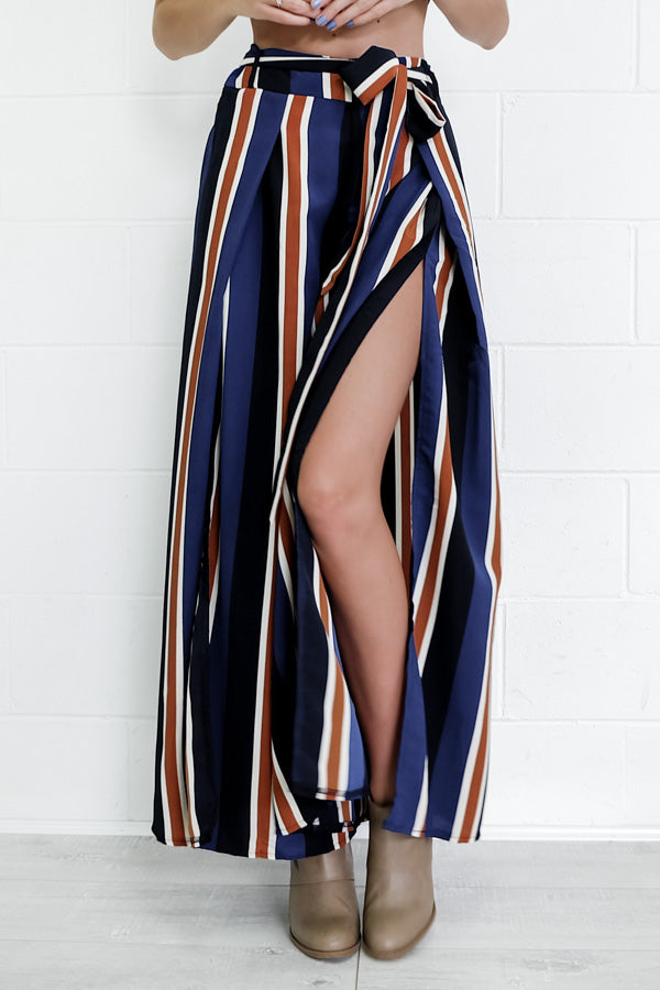 Striped Wide Leg Pants Side Slit High Waist Fashion Sashes Sexy Mono combinaison pantalon femme Skirt Capris Chic Boho Trousers