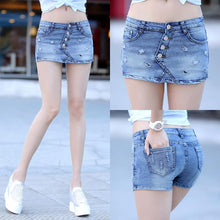 Summer 2018 New Fashion Skort Shorts Denim Korean Style Plus Size S-3XL Women's Skorts Skirt Sli Sexy Woman Short Jeans Feminino