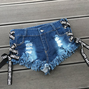 Summer Beach Denim Hot Shorts Sexy Lace Up Ripped Hole Jean Shorts Women Club Party Booty Twerking Cute Shorts