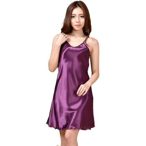 Summer New Women's Sleepwear Female Sexy Spaghetti Strap Nightgown Plus Size XXXL Rayon Nightdress Short Robe Dress Gown