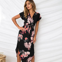 Summer Women Beach Dress Boho Print Batwing Short Sleeve Tunic Bandage Bodycon Dress Midi Sheath Party Dress Vestidos mujer