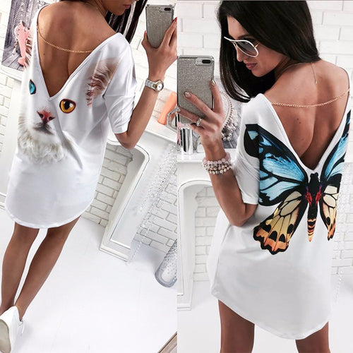 Summer Women Tops Back Cute Butterfly Cats Print Printed Sexy Deep V Backless With A Short Sleeve Long Tops T-Shirt Tees W2084