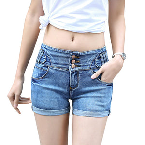 Summer mid waist stretch denim shorts Fashion three buttons decorate shorts women Casual slim short jeans Plus size 26-32 M219