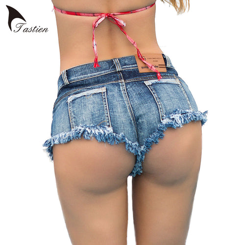 TASTIEN 2018 NEW Women Shorts Denim Super Mini Sexy Shorts Jean Tassel Booty Shorts Cute Bikini  Club Party Girls Bottom Shorts