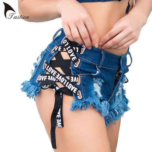 TASTIEN Women Shorts Sexy White Blue Black Mini Super Booty Female Shorts Clubwear Summer Beach Party Cute Jeans Denim Shorts