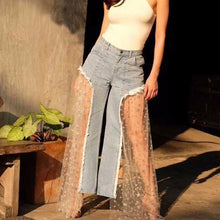 TWOTWINSTYLE Mesh Patchwork Jeans Female High Waist Print Tassel Sexy Maxi Wide Leg Pants 2018 Fashion Harajuku Summer Clothing