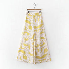 Tangada Fashion summer Women Floral Print wide leg pants Long Trousers zipper yellow Pants 2018 Cozy Casual Female XD293