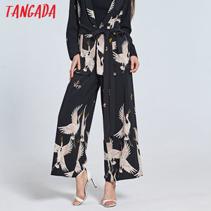 Tangada Women Bird Print Black Trousers High Waist Side Zippers Fashion Female Summer Wide Leg Pants 2017 Loose Cozy Pants BE5