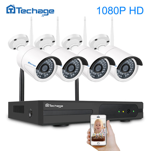 Techage Plug and Play 4CH 1080P Wireless NVR Kit P2P 1080P 2MP Indoor Outdoor IR Night Vision Security Camera WIFI CCTV System