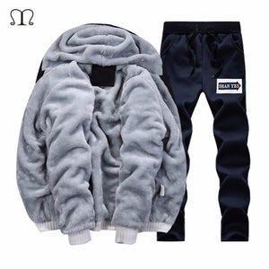 Thick Hoodies 2017 Winter Warm Zipper Hooded Fur Jacket Velvet Male 3D Hoodies Sweatshirts Men Coat+Pant Cardigan US Tracksuit 1