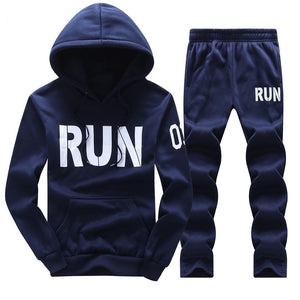 Tracksuit Men Hoodies Men Winter Fleece Tracksuits Print Sportswear 2PC Jackets + Pants Sudaderas Hombre Men's Clothing D31