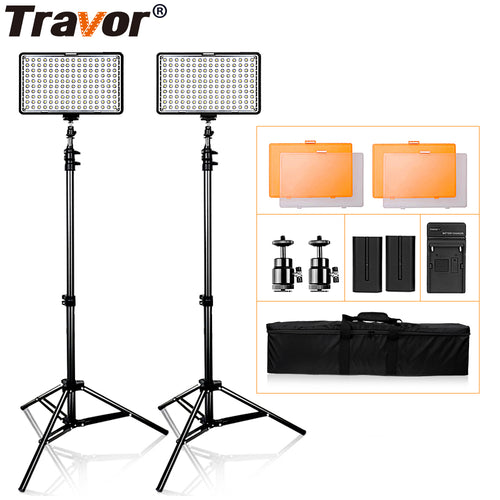 Travor TL-160S 2 Kit LED Light for Video Photography Lighting With Tripod Studio Photo LED Lamp Dimmable 3200K/5600K 160LEDS