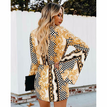 Try Everything Gold Short Party Dress Women Flare Sleeve 2019 Fashion Ladies Sexy Dresses Print Warp Dress Summer For Women