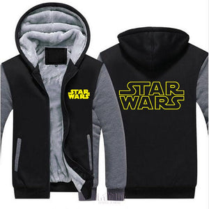 USA SIZE Fashion Men's Hoodies Star Wars Printed Jackets Winter Thicken Fleece Hooded Sweatshirts Zipper Unisex Coats Clothing