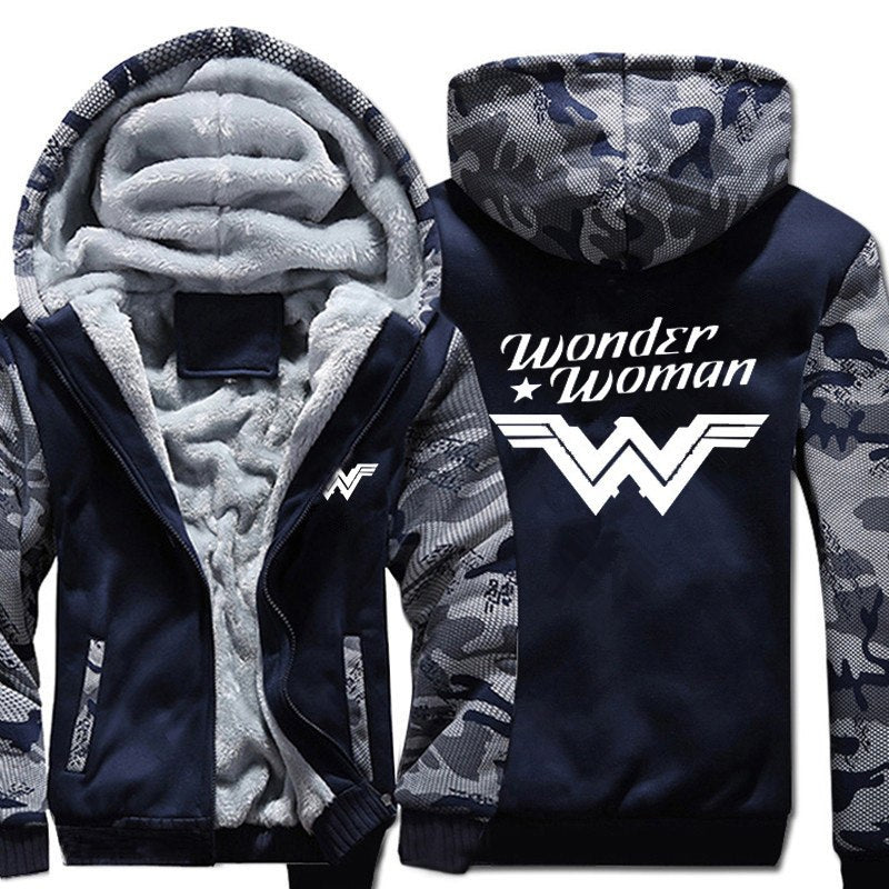 USA SIZE Men's Hoodies Sweatshirts Wonder Woman Winter Fleece Thicken Hoody Coats Men Women Camouflage Blue Jackets Casual Tops