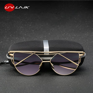UVLAIK Cat Eye Metal Frame Sunglasses Women Cateye Sun Glasses Womens Design Brand Sunglass Vintage Eyewear Goggles Eyeglasses
