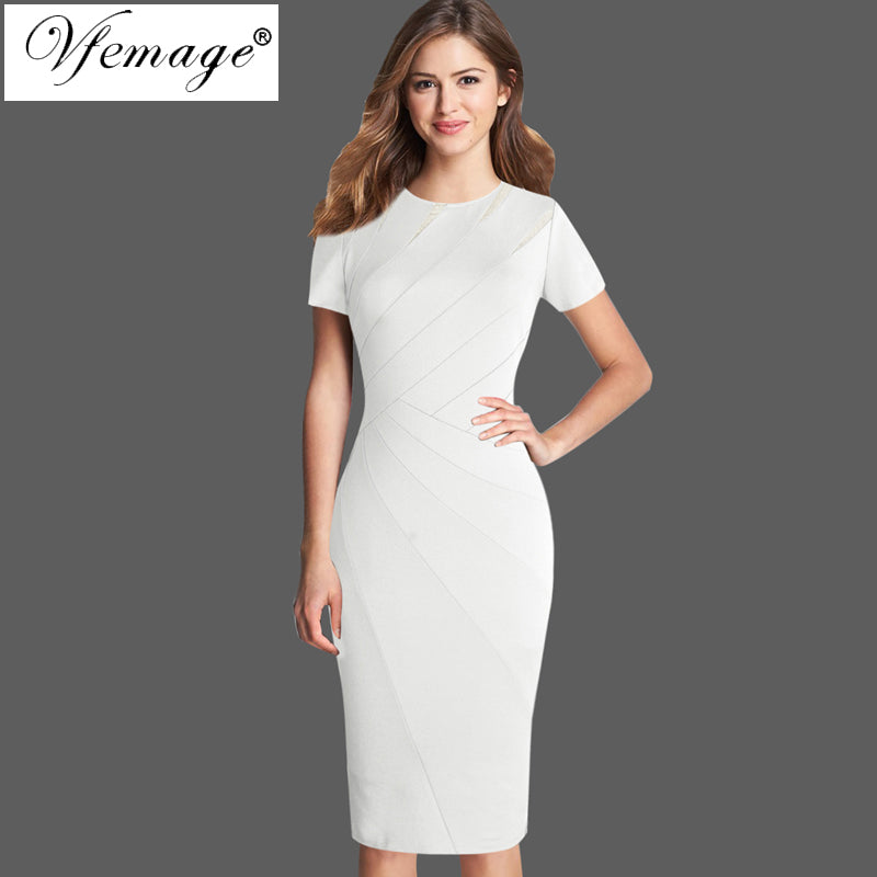 ea14a4fae8 Vfemage Womens Autumn Winter Elegant Patchwork Slim Casual Work Business  Office Party Fitted Bodycon Pencil Sheath Dress 4682 1