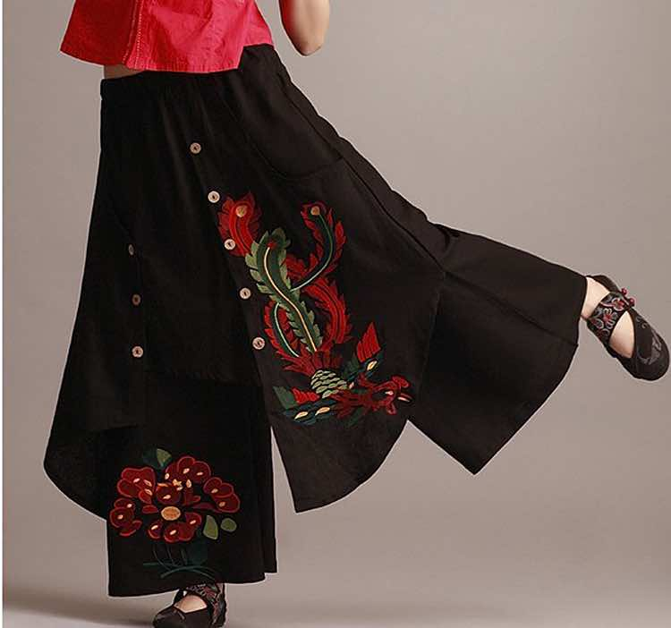 Vintage 70s ethnic wide leg pant 2018 women autumn spring Chinese style green black red trousers free shipping