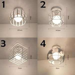 Vintage Iron Chandelier Nordic Simple White Small Ceiling Lamp For Living Room LED Creative Dining Room Corridor Lights S3