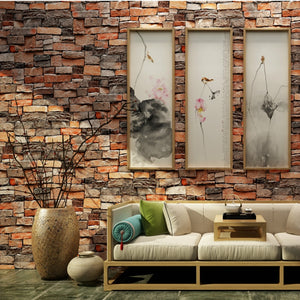 Vintage Stone Brick Wallpaper For Walls Roll 3D PVC Waterproof Wallpapers For Living Room Restaurant Vinyl Wall Paper