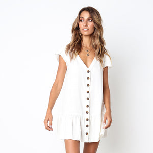WHITE ISLAND European and American Short Sleeve Office Lady Summer Dress Solid Color Single Button V-collar Women Dress D029