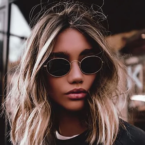 WISH CLUB Fashion Women Sunglasses 2018 Famous Oval Sun Glasses Luxury Brand Metal Round Frames Black Small Cheap Eyewear Oculos