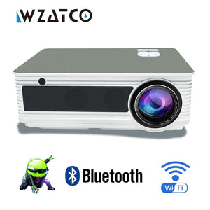 WZATCO Full HD 1080p LED Home Theater Video Projector 5500Lumens Android 7.1 WiFi Portable Beamer moive Proyector with HDMI USB