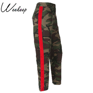 Weekeep Fashion High Waist Camouflage Pants Women Patchwork Pockets Cotton Cargo Jeans Trousers Women Sweatpants Camo Pants