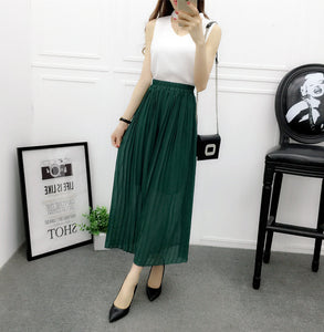 Wide-legged pants new chiffon pants pleated tall waist show thin nine points wide-legged pants elastic waist casual skirts pants
