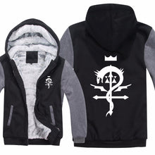 Winter Warm Fullmetal Alchemist Logo Printed Hoodies Mens Zipper Sweatshirt Fleece Thicken Anime Fashion Jacket Coat 1