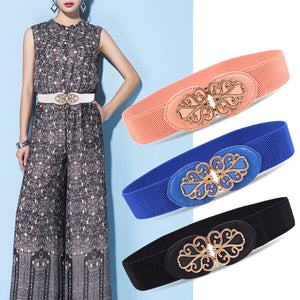 Winter fashion elastic waist belt Women Dress 2018 luxury brand female casual Flowers on buckle wide girdle cintos mulher N009