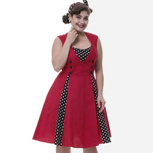 Wipalo Vintage Retro Women Dress Sleeveless Polka Dot 2017 Summer Party Evening Vestido Elegant Ladies Red A Line Plus Size 4XL